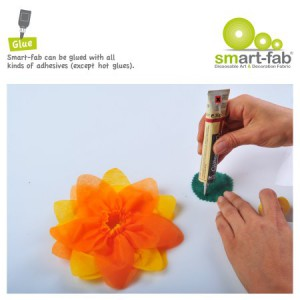 Smart Fab can be glued with all kinds of adhesives (except hot glue)