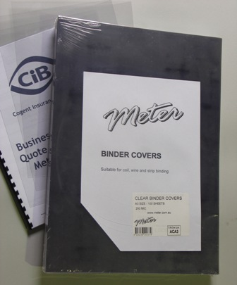ACA3 A3 Clear Binding Covers 250 Micron