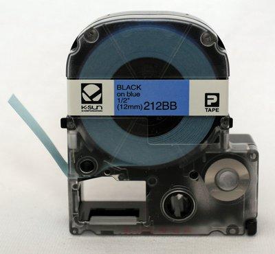212BB K-Sun 12mm Black on Blue Label Tape