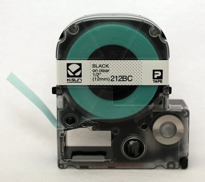 212BC K-Sun 12mm Black on Clear Label Tape
