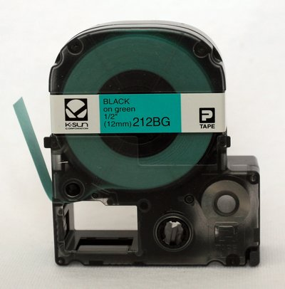 212BG K-Sun 12mm Black on Green Label Tape