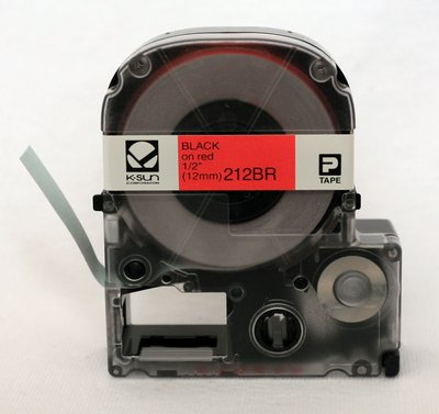 212BR K-Sun 12mm Balck on Red Label Tape