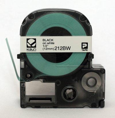 212BW K-Sun 12mm Black on White Label Tape