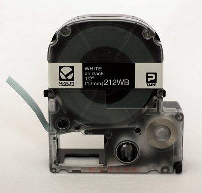 212WB K-Sun 12mm White on Black Label Tape