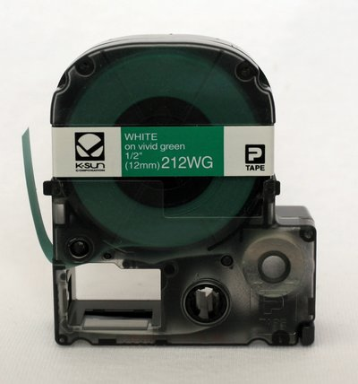 212WG K-Sun 12mm White on Green Label Tape