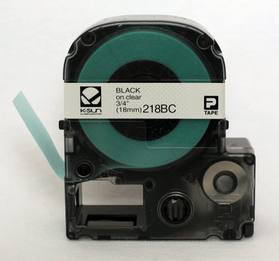 218BC K-Sun 18mm Black on Clear Label Tape