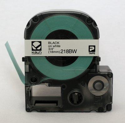 218BW K-Sun 18mm Black on White Label Tape