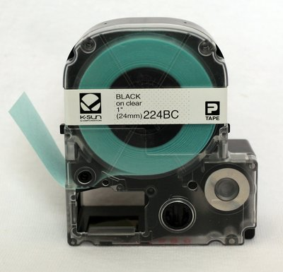 224BC K-Sun 24mm Black on Clear Label Tape