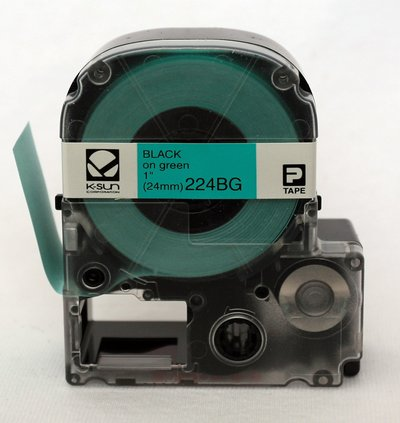 224BG K-Sun 24mm Black on Green Label Tape