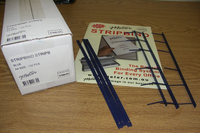 Blue Stripbind Strips A4
