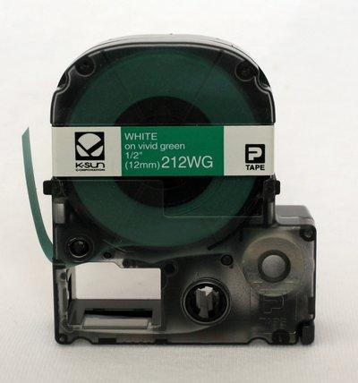 212WG K-Sun 12mm White on Green Label Tape
