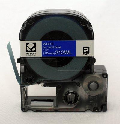 212WL K-Sun 12mm White on Blue Label Tape