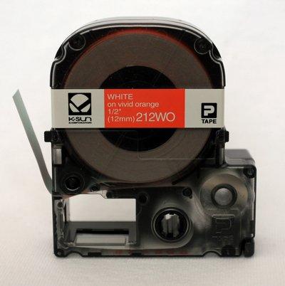 212WO K-Sun 12mm White on Orange Label Tape