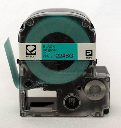224BG K-Sun 24mm Black on Green Label Tape
