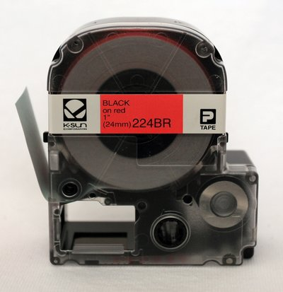 224BR K-Sun 24mm Black on Red Label Tape